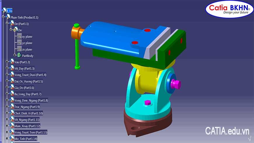 Đáp án bài tập đồ họa kỹ thuật 2, Bản vẽ 3D: Ê tô của máy mài. ĐH Bách Khoa Hà Nội